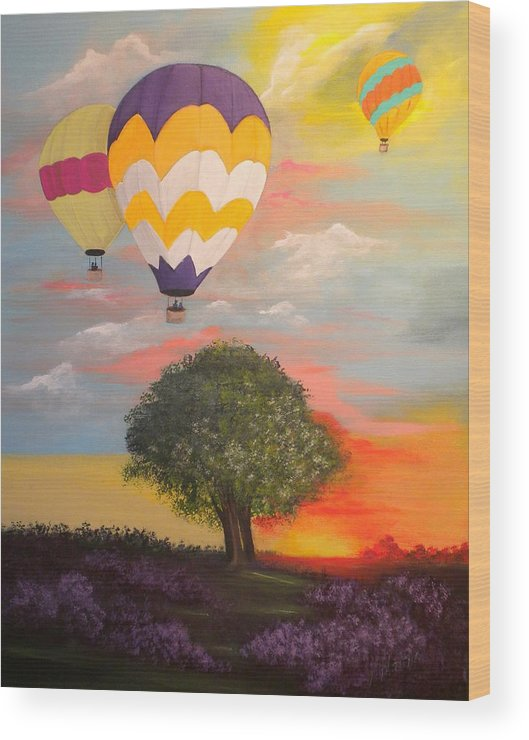 Hot Air Baloons Wood Print featuring the painting Big Sky Country by Peggy Martin