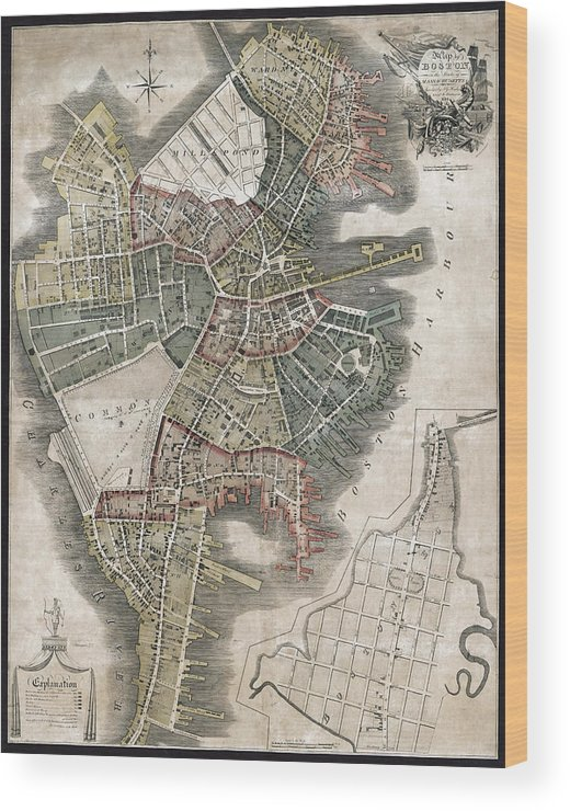 Antique Boston Map.Boston Antique Map 1814 Wood Print By Compass Rose Maps