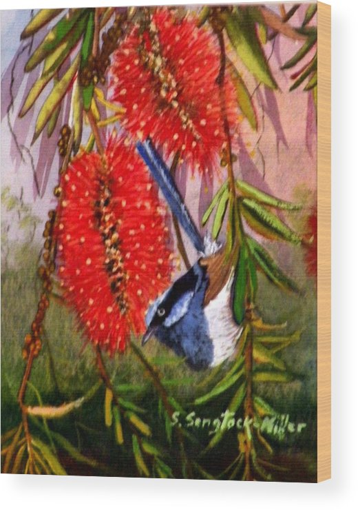Wren Painting Wood Print featuring the painting Bottle Brush And Wren by Sandra Sengstock-Miller