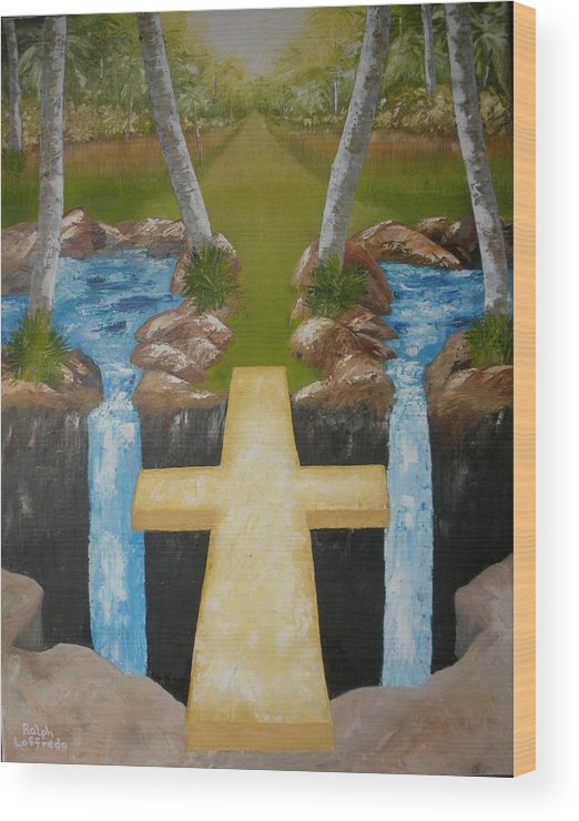 Cross Paintings Wood Print featuring the painting Bridge To Eternity by Ralph Loffredo