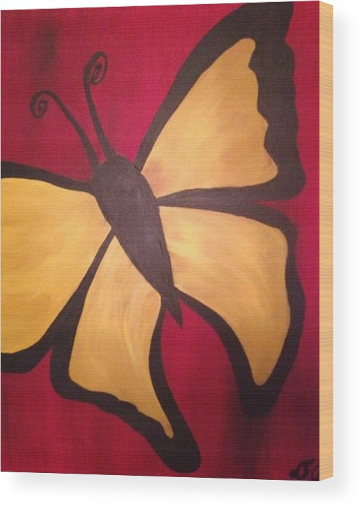 Wood Print featuring the painting Butterfly by David Cotton