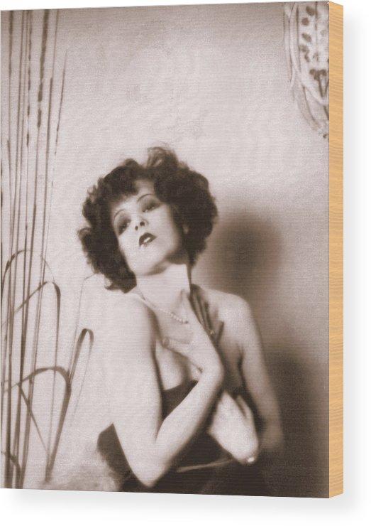 Clara Bow Wood Print featuring the photograph Clara Bow by Glenn Aker