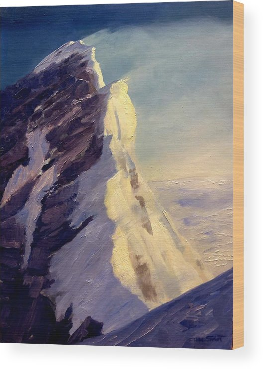 Everest Wood Print featuring the painting Everest-southeast Ridge by Tom Siebert