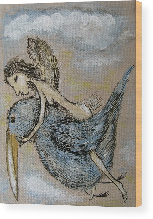 Surreal Wood Print featuring the painting Faery And The Stork - Prints by Sue Wright