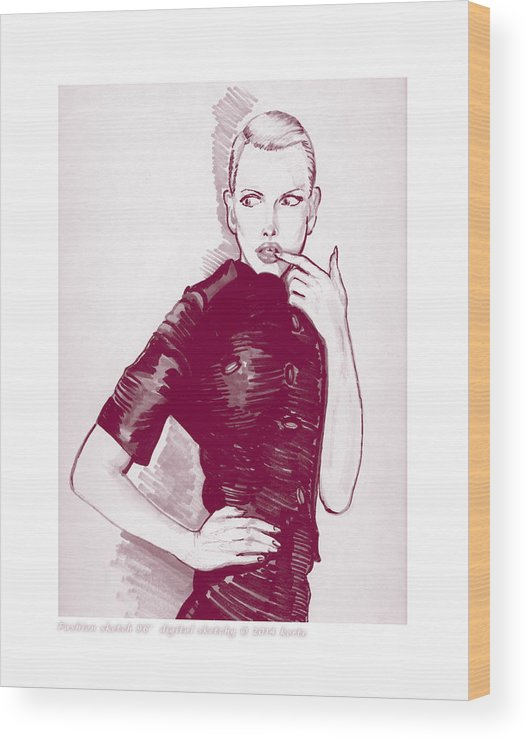Models Wood Print featuring the mixed media Fashion Sketch 96 by Christopher Korte