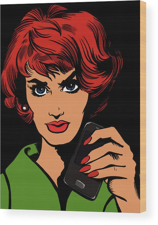 Problems Wood Print featuring the digital art Frowning Woman Holding Cell Phone by Jacquie Boyd