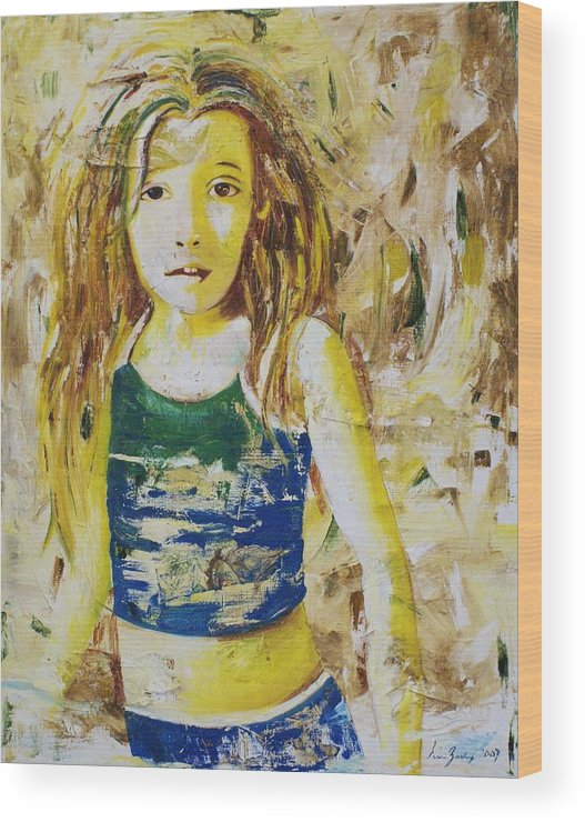 Portrait Wood Print featuring the painting Golden Dreams by Elsa Zarduz