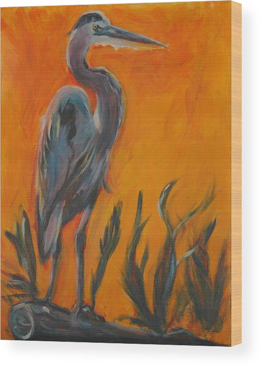 Wildlife Wood Print featuring the painting Great Blue by Stephanie Allison