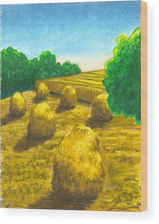 Hay Wood Print featuring the painting Harvest Gold by Carrie MaKenna