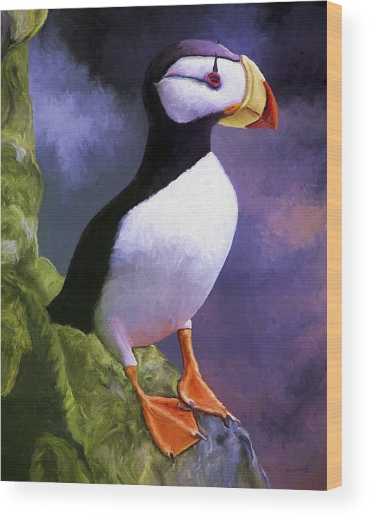 Animal Wood Print featuring the painting Horned Puffin by David Wagner