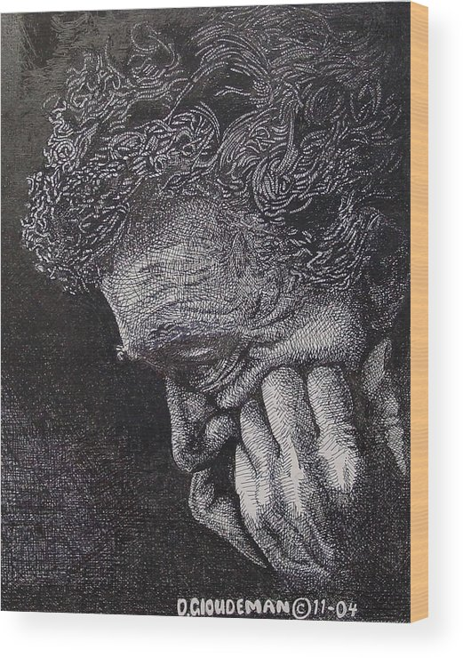 Portraiture Wood Print featuring the drawing Introspection by Denis Gloudeman