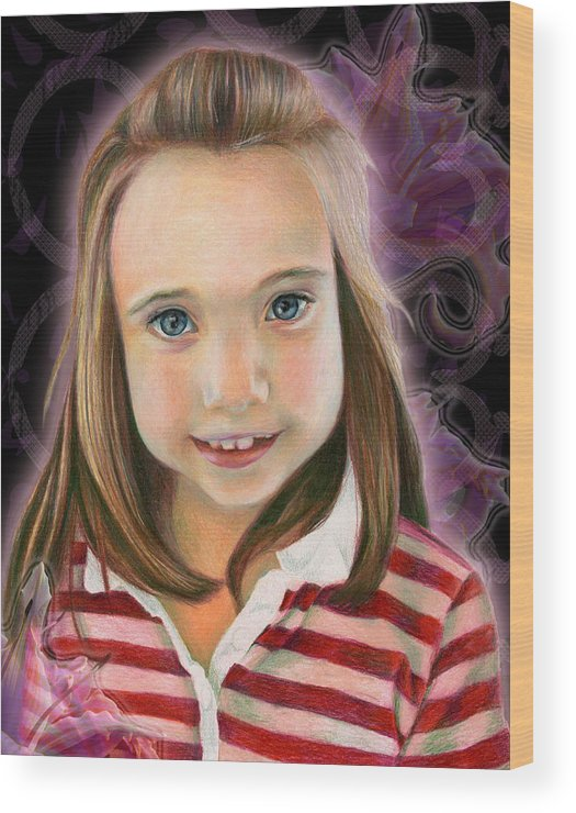 Young Wood Print featuring the drawing Kaylee by Heather Raven Illingworth