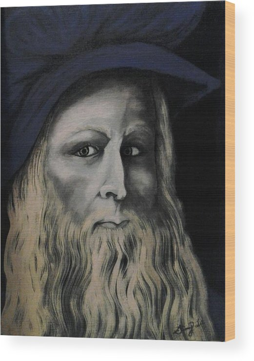 Da Vince Wood Print featuring the painting Leonardo Da Vince by Ginny Lei