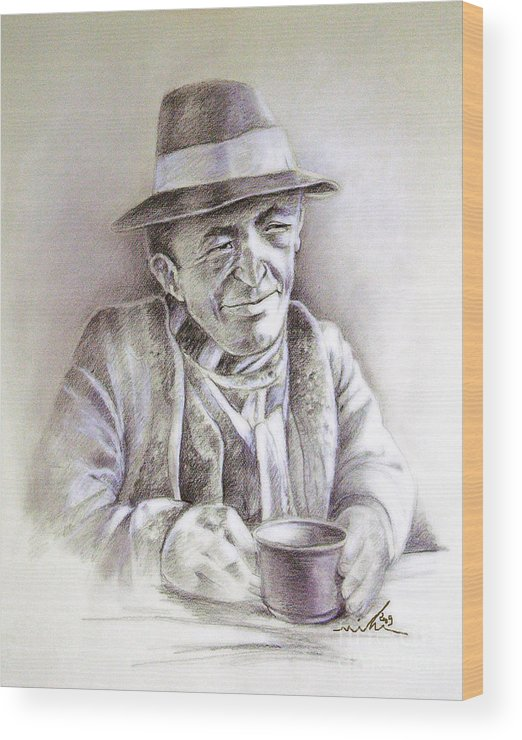 Portrait Michael Anderson Wood Print featuring the painting Michael J Anderson by Miki De Goodaboom