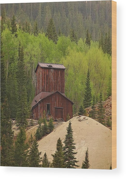 Old Mining Building Silverton Colorado Wood Print featuring the digital art Mining Building In Colorado by Dan Sproul