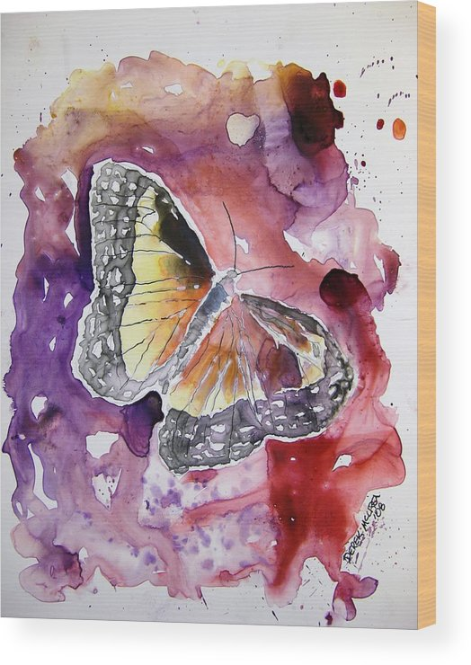 Monarch Wood Print featuring the painting Monarch Butterfly by Derek Mccrea