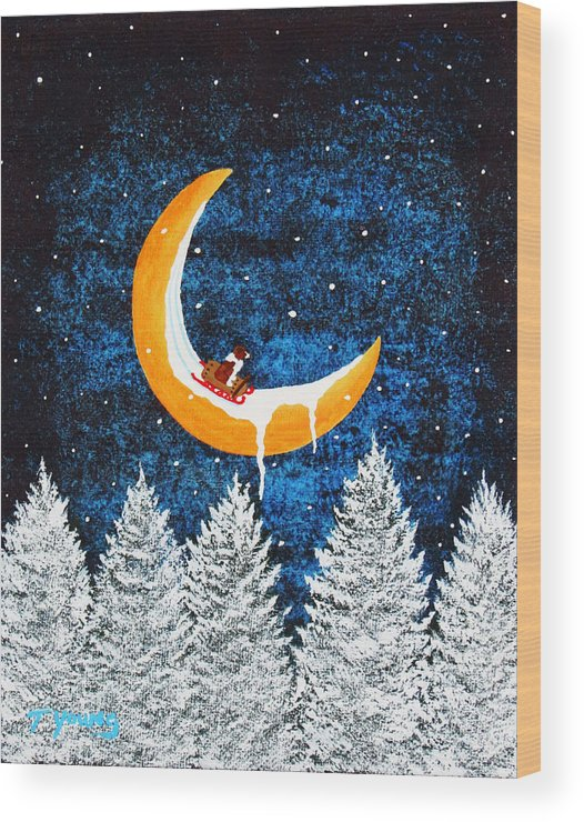 Australian Wood Print featuring the painting Moon Sledding by Todd Young