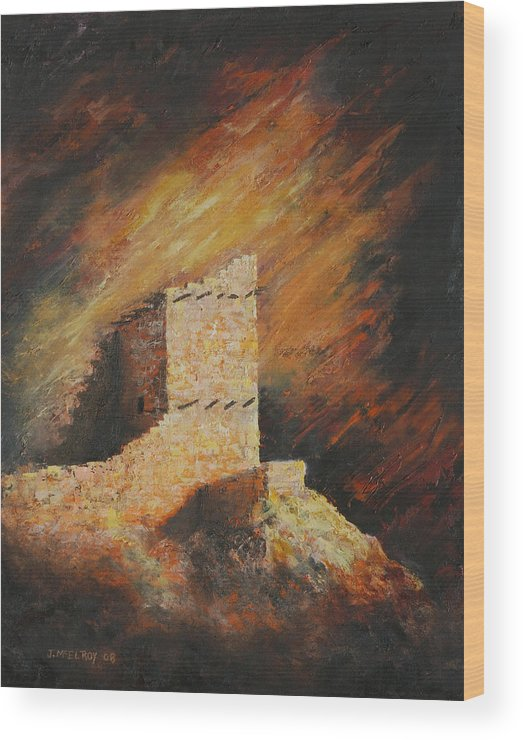 Anasazi Wood Print featuring the painting Mummy Cave Ruins 2 by Jerry McElroy