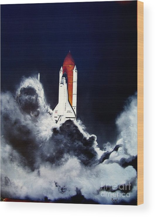Oil Wood Print featuring the painting Night Launch by Murphy Elliott