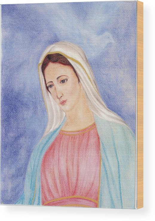 Portrait Wood Print featuring the pastel Queen Of Peace by Darcie Cristello