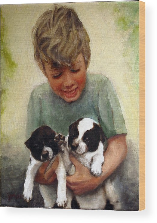 Puppies Wood Print featuring the painting Sally's Boys by Jean Smith