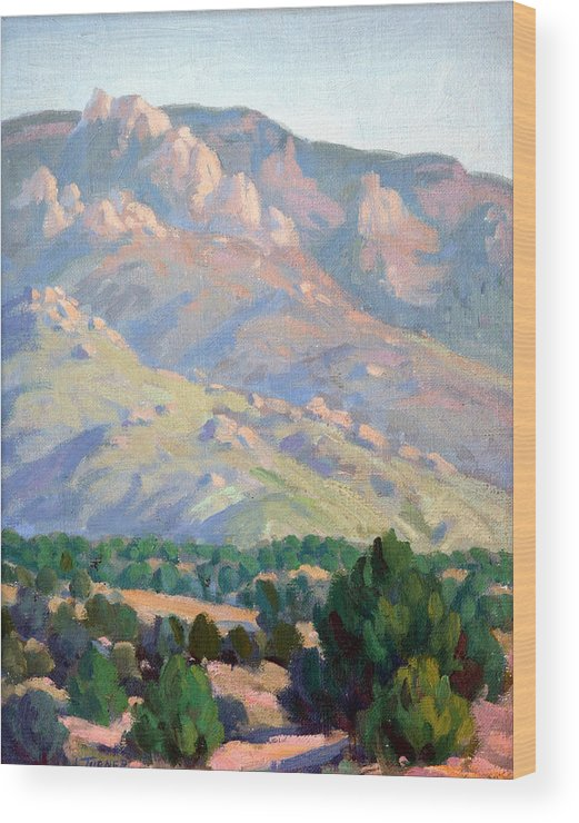 Sandia Mountains Wood Print featuring the painting Sandia Sketch by Douglas Turner