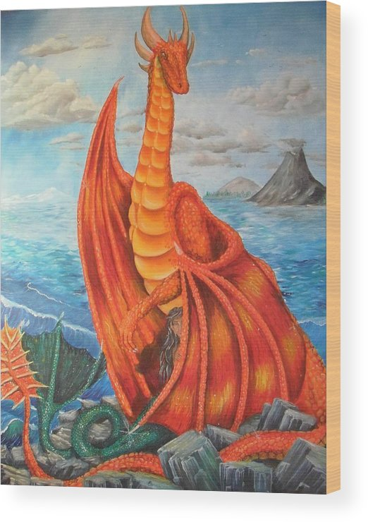 Dragon Wood Print featuring the painting Sea Shore Pair by Nicole Angell