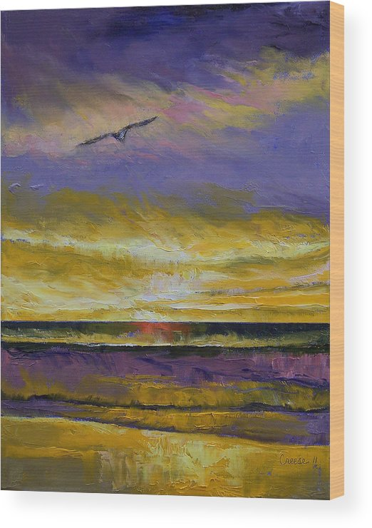 Seagull Wood Print featuring the painting Seagull Sunset by Michael Creese