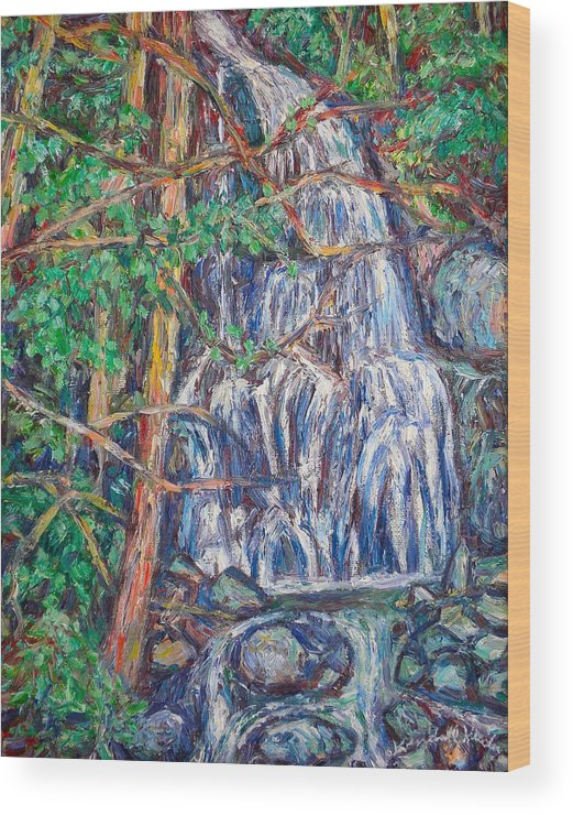 Waterfall Wood Print featuring the painting Secluded Waterfall by Kendall Kessler