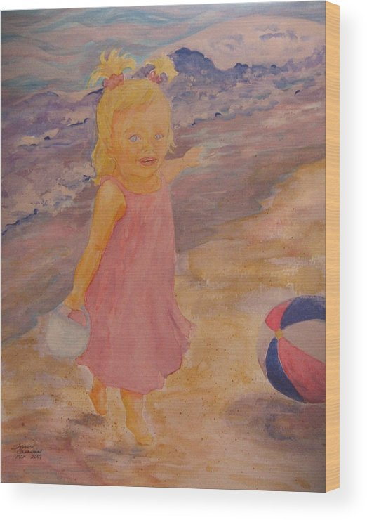 Sea Wood Print featuring the painting See by Sharon Casavant
