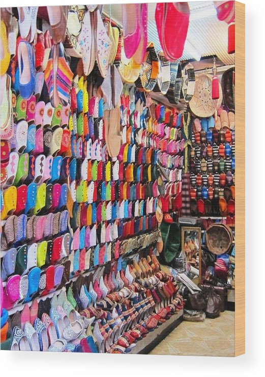 Morocco Wood Print featuring the photograph Shoe Souk by Teresa Ruiz
