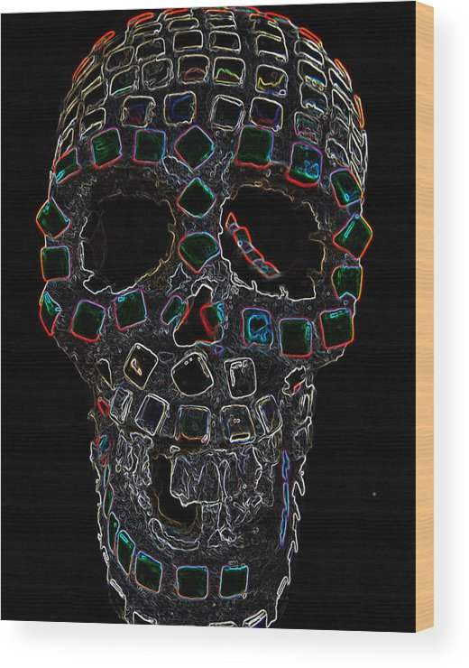 Skull Wood Print featuring the mixed media Skully Alas We Hardly Knew Ye by Lisa Brandel