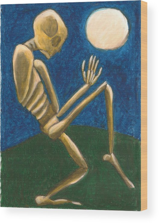 Skeleton Wood Print featuring the painting Slinking Through The Night by Carrie MaKenna