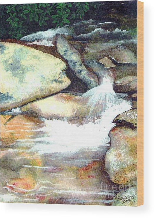 Fine Art Wood Print featuring the painting Smoky Mountains Waterfall by Patricia Griffin Brett