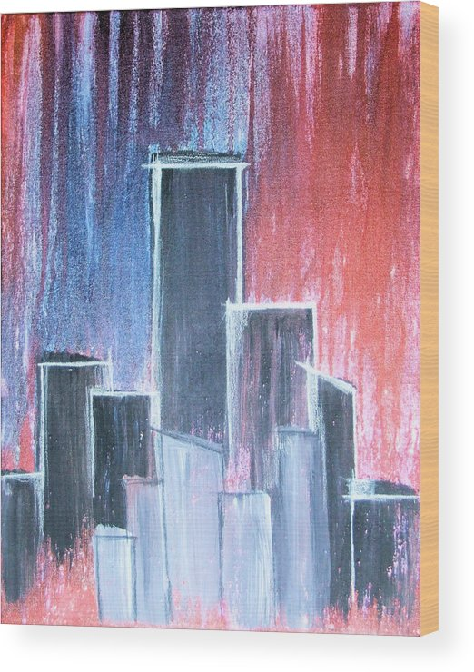 City Wood Print featuring the painting The Big City by Allen Murray
