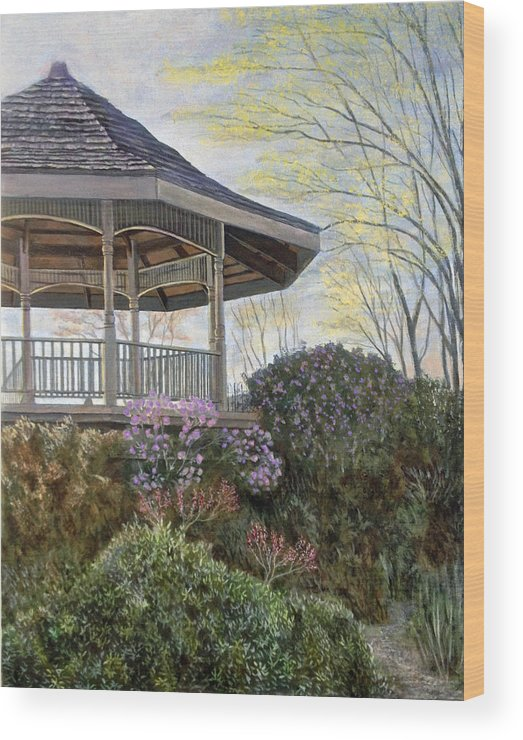 Landscape Wood Print featuring the painting The Gazebo by Mr Dill
