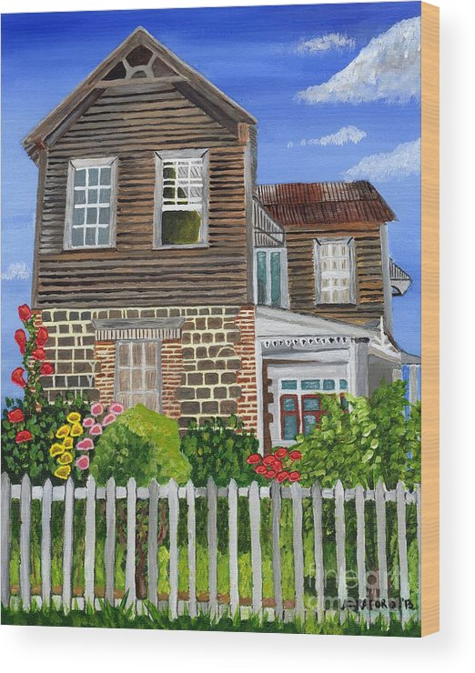 Old House Wood Print featuring the painting The Old House by Laura Forde
