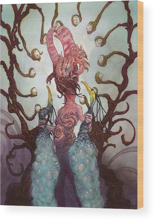 Eggs Wood Print featuring the painting The Ovipositor by Ethan Harris
