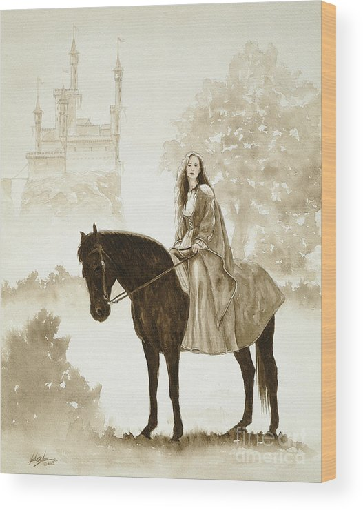 Fantasy Wood Print featuring the painting The Princess Has A Day Out. by John Silver