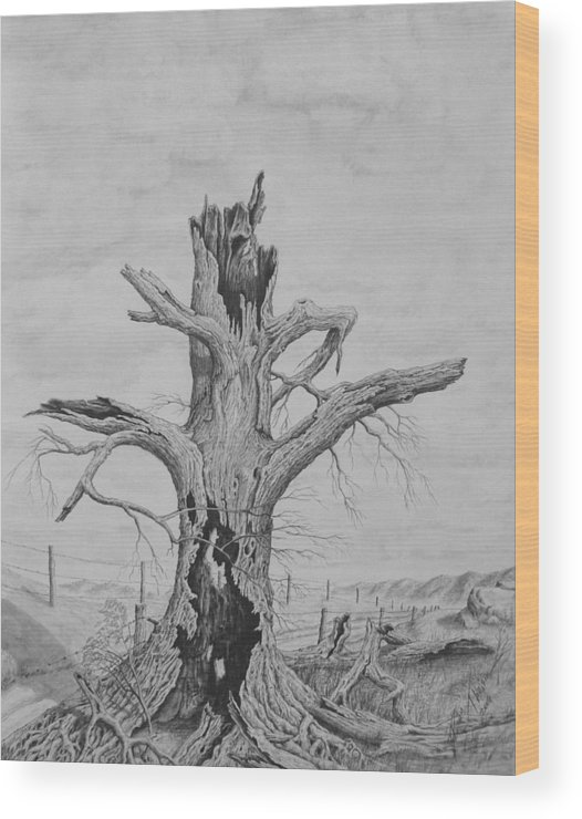 Realistic Drawing Wood Print featuring the drawing The Survivor by Dan Theisen