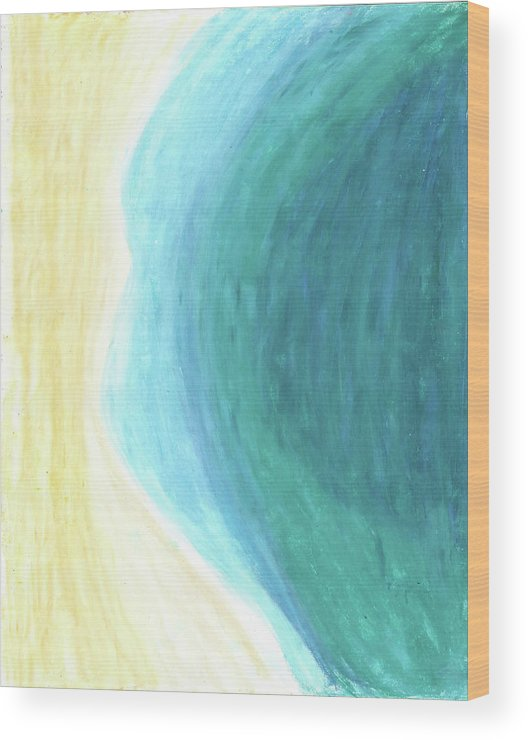 Ocean Wood Print featuring the painting The Waters Edge by Carrie MaKenna