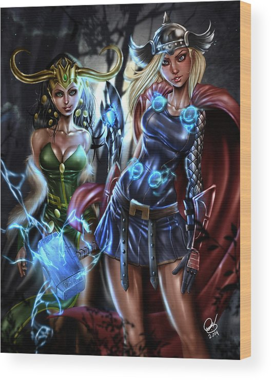 Thor Wood Print featuring the painting Thor And Loki by Pete Tapang