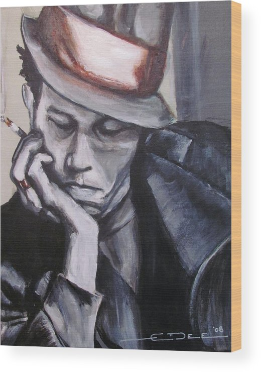Celebrity Portraits Wood Print featuring the painting Tom Waits One by Eric Dee