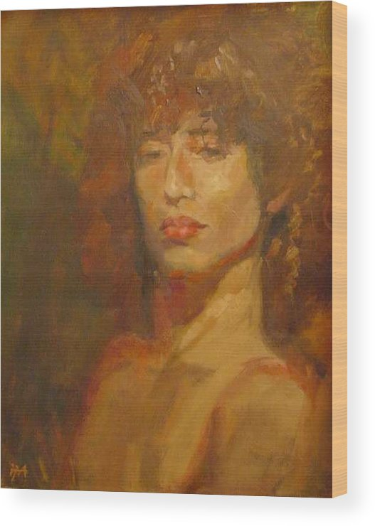 Portrait Wood Print featuring the painting Tracy by Irena Jablonski