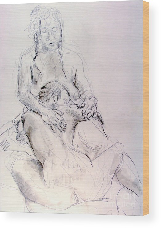 Andy Gordon Wood Print featuring the drawing Two Woman Embraceing by Andy Gordon