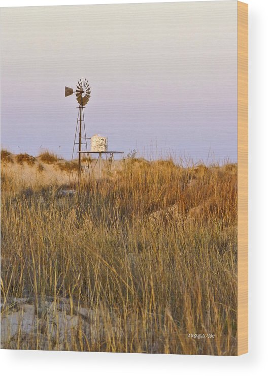 Windmill Wood Print featuring the photograph Windmill At Dusk 2011 by Allen Sheffield