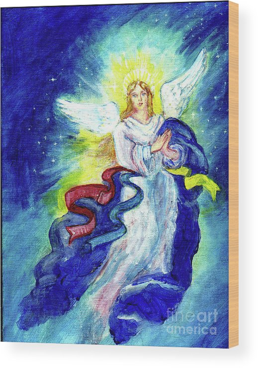 Angel Wood Print featuring the painting Angel Of Joy by Doris Blessington