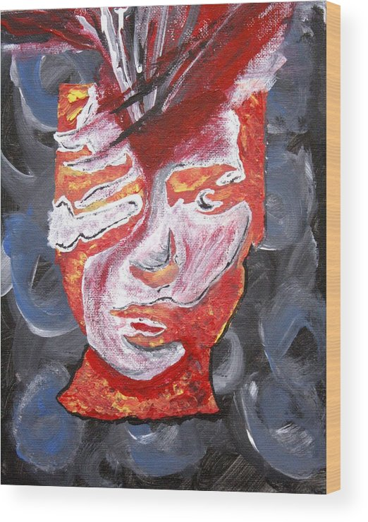 Face Wood Print featuring the painting Braintease by April Harker