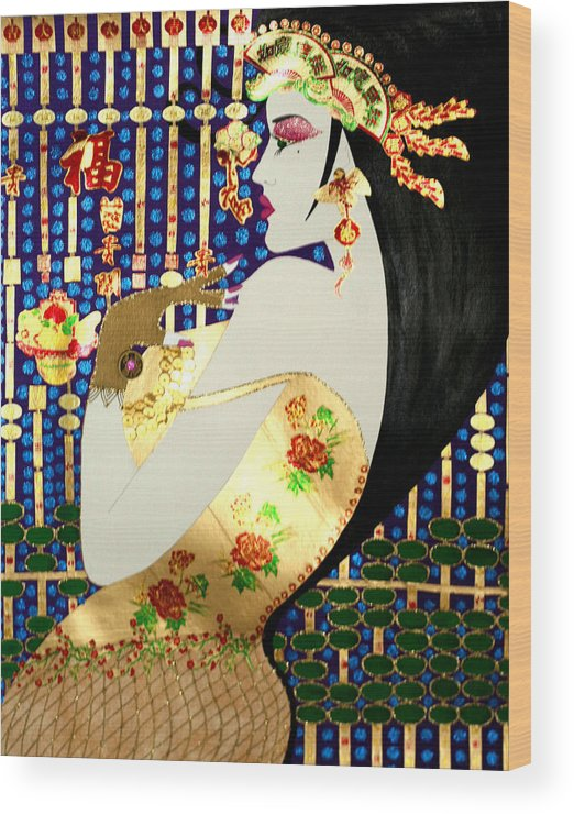 Asian Wood Print featuring the painting Ma Belle Salope Chinoise No.13 by Dulcie Dee