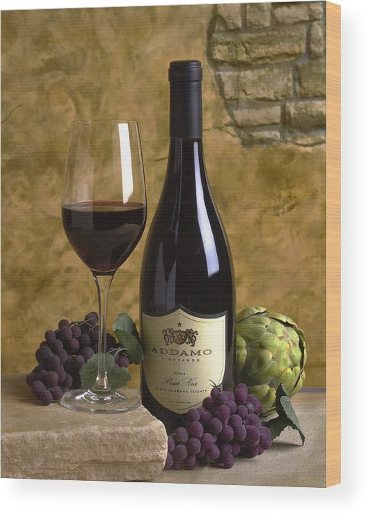 Wood Print featuring the photograph A Glass Of Pinot by Mel Felix